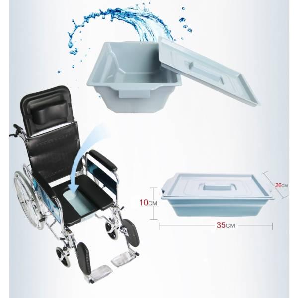 Scaun cu rotile cu spatar reglabil si vas WC inclus FC 41