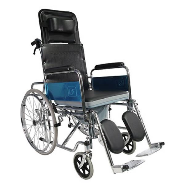 Scaun cu rotile cu spatar reglabil si vas WC inclus